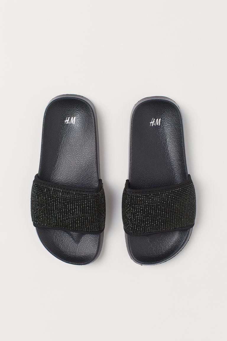 Rhinestone-covered Pool Shoes