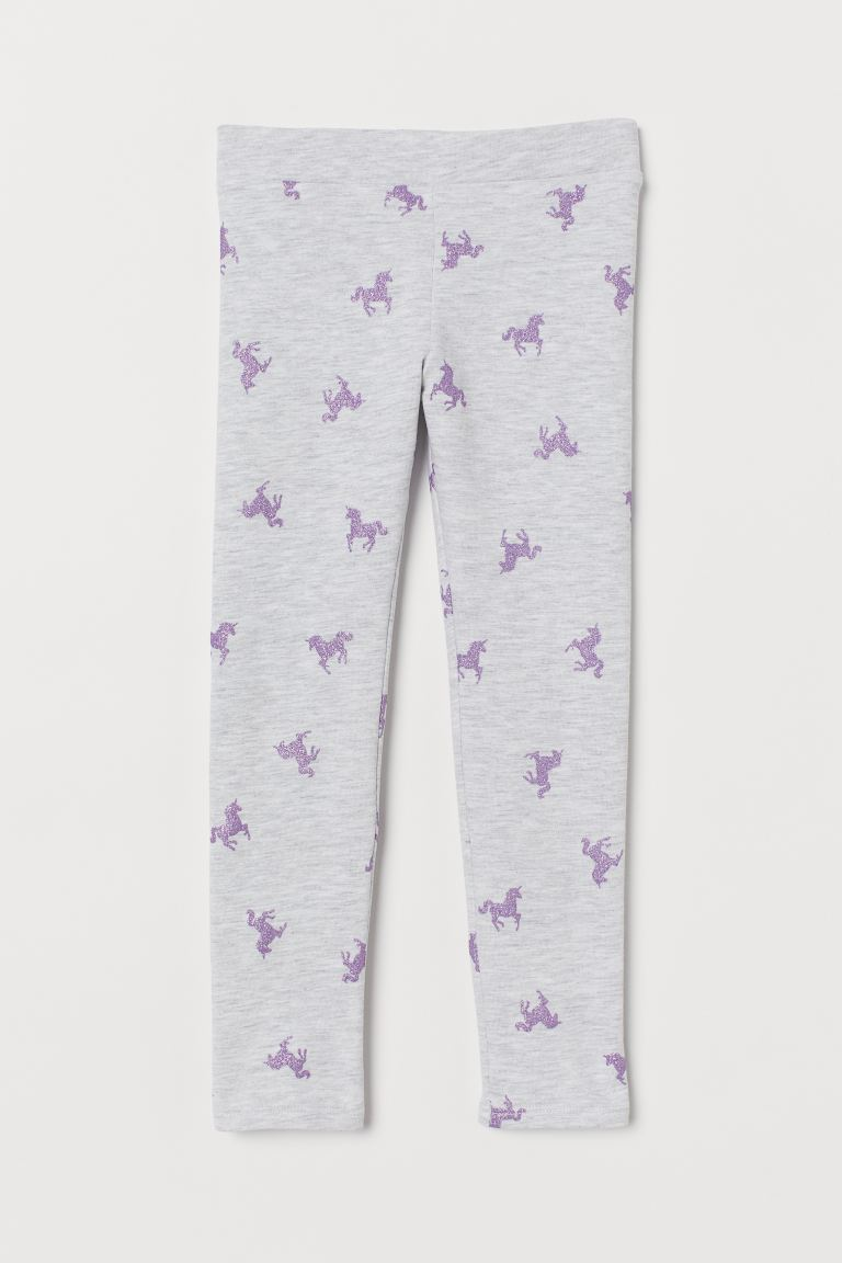 Leggings with brushed inside - Light grey marl/Unicorns - Kids | H&M GB