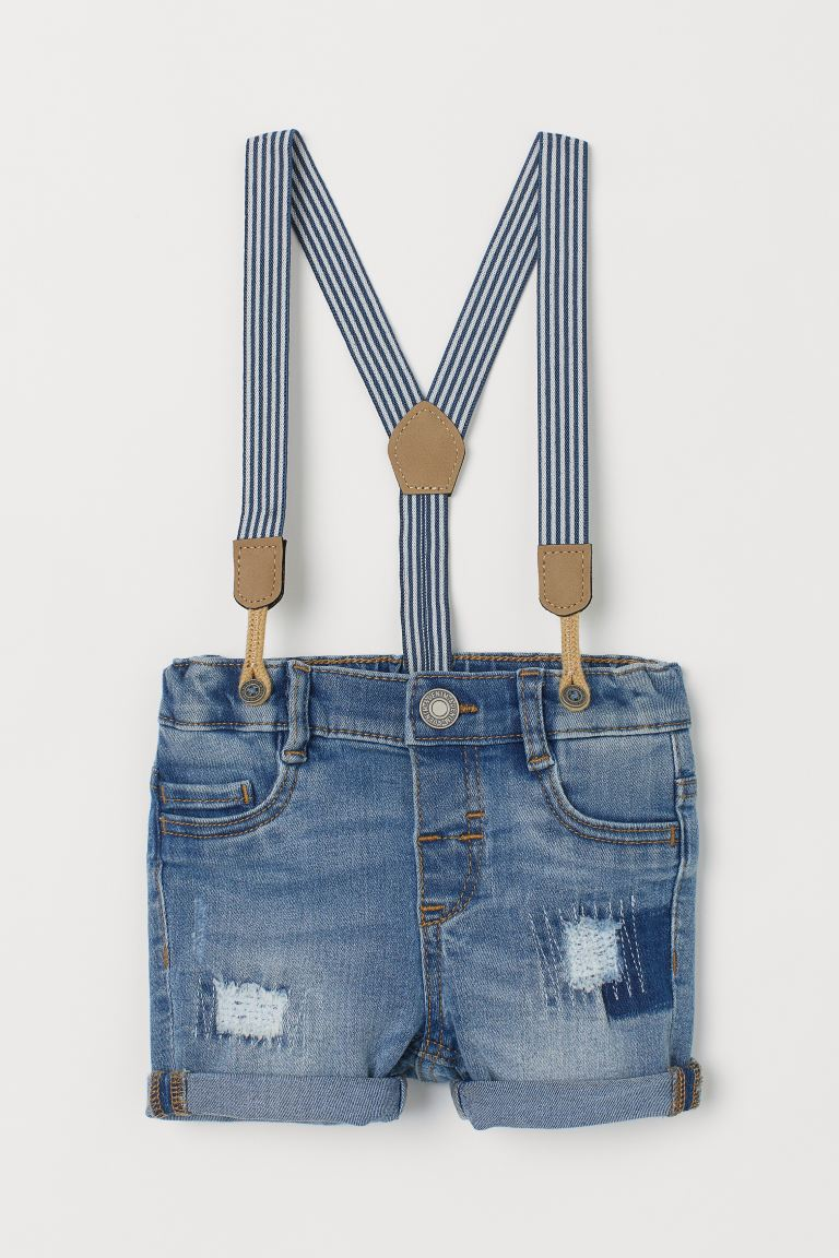 Denim Shorts with Suspenders