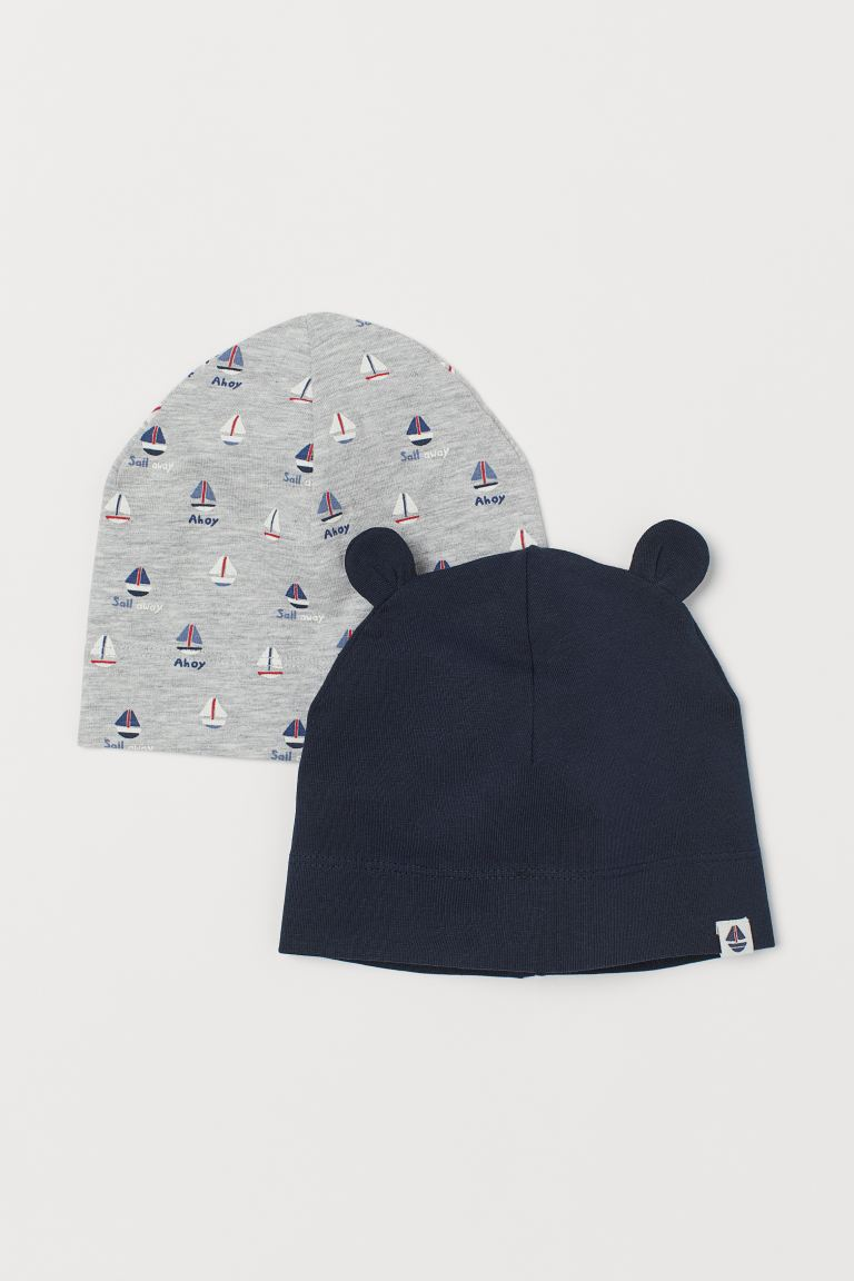 2-pack jersey hats - Dark blue/Sailing boats - Kids | H&M GB