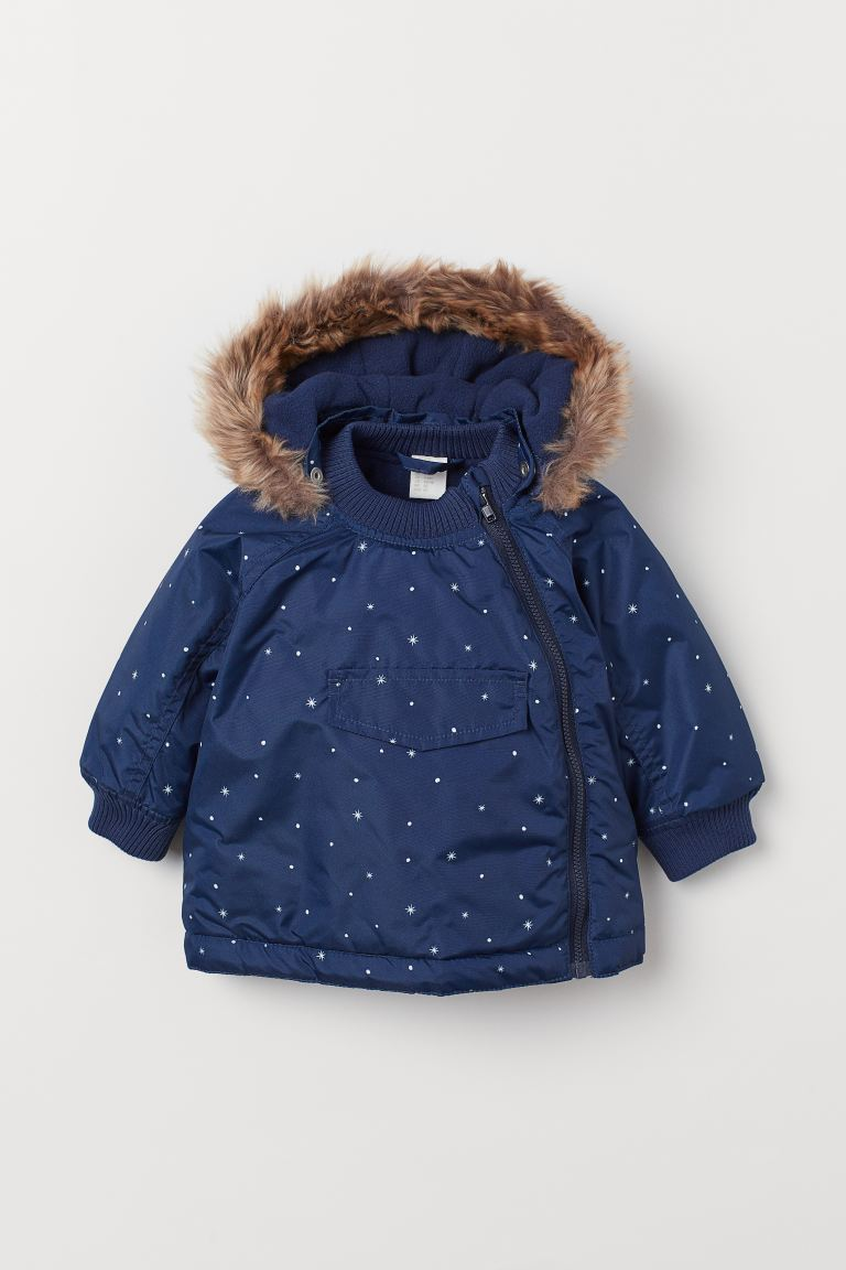 Padded jacket - Dark blue/Snowflakes - Kids | H&M GB