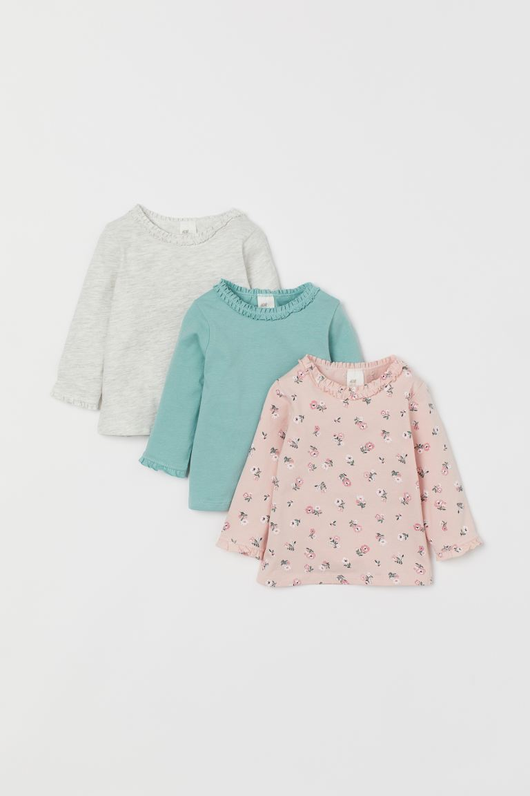 3-pack Ruffle-trimmed Tops