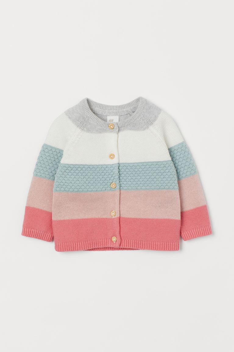 Block-coloured cotton cardigan - Light grey/Multicolour stripes - Kids | H&M GB