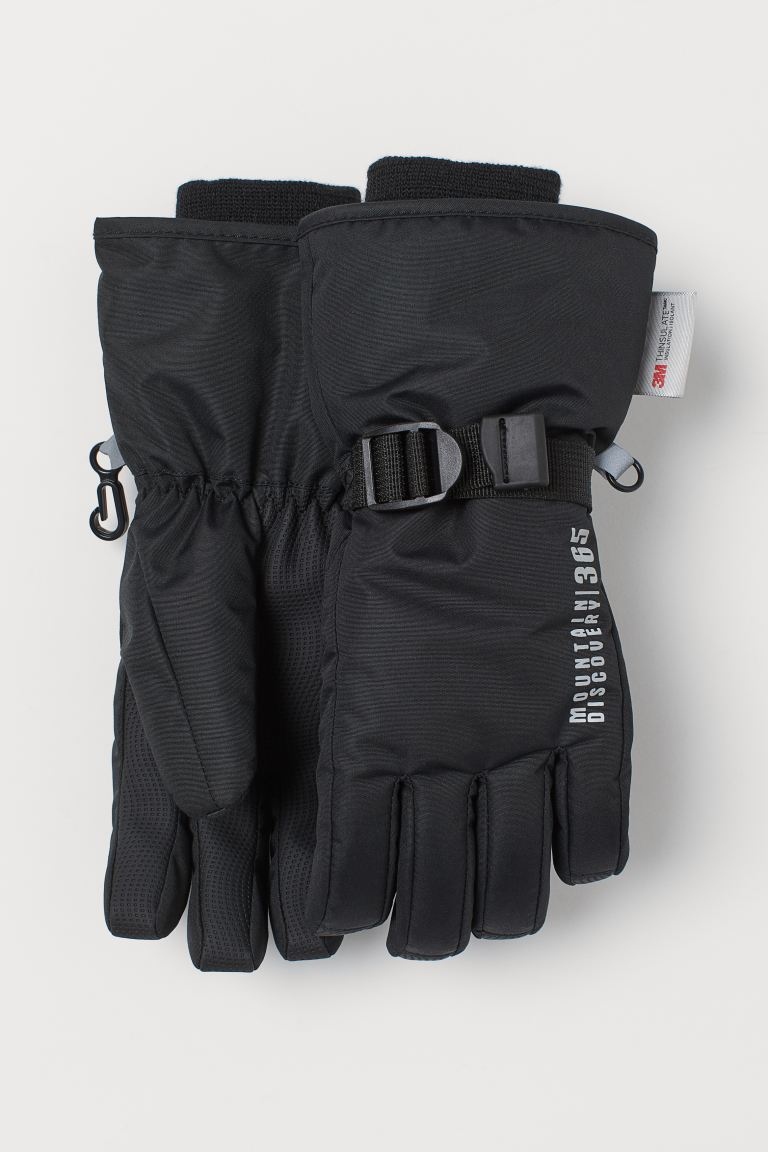 Water-repellent ski gloves - Black - Kids | H&M GB