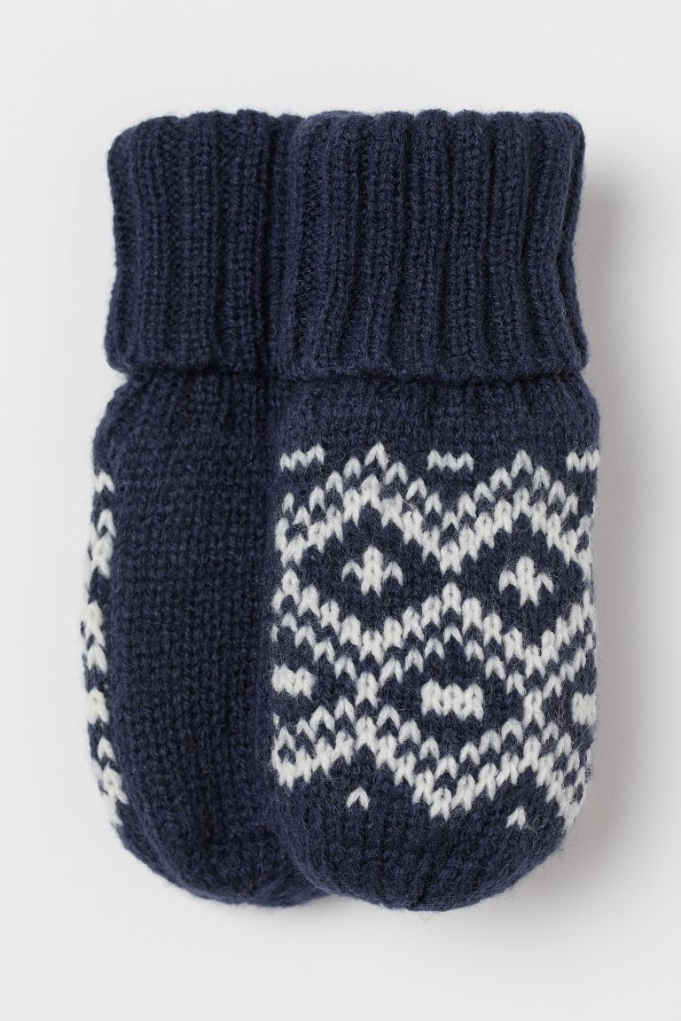 Knitted mittens - Dark blue/White - Kids | H&M GB
