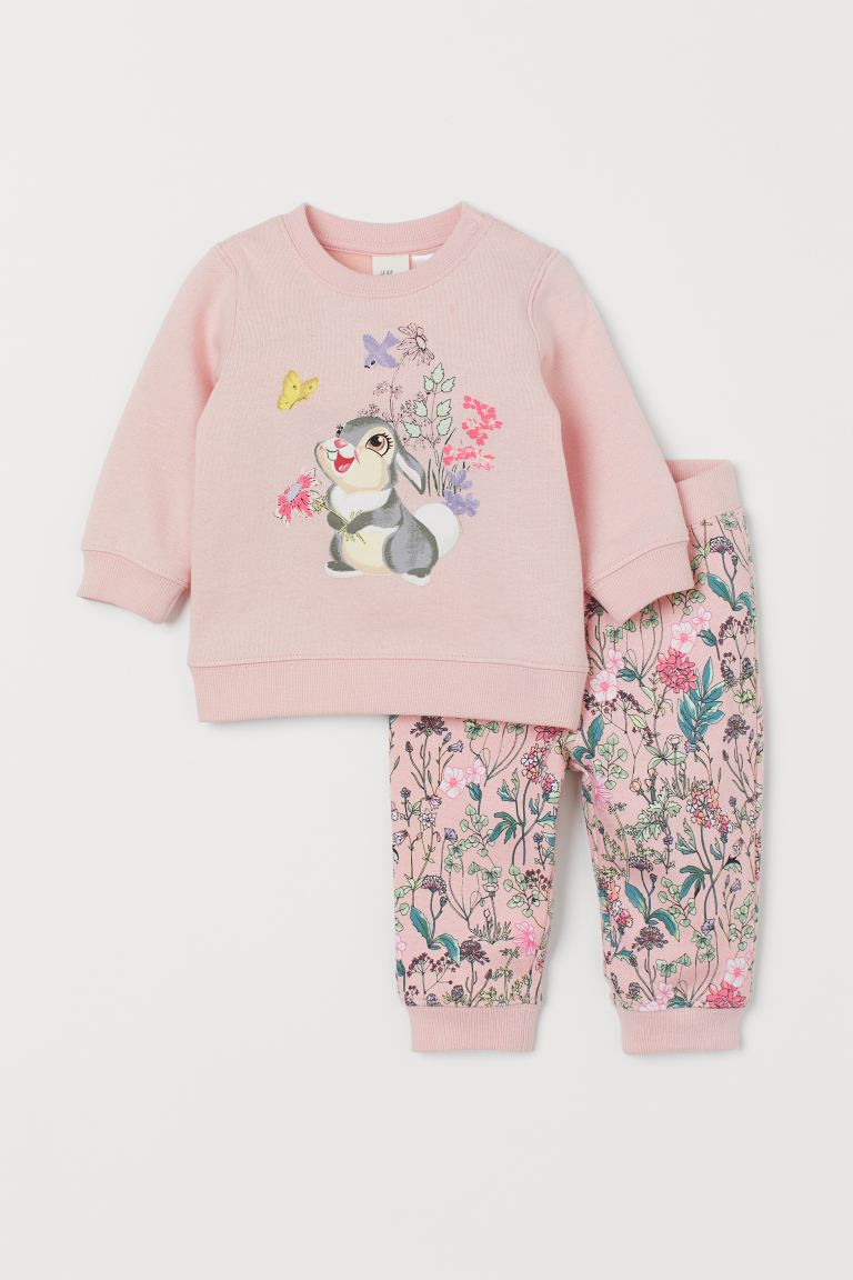 Sweatshirt and trousers - Light pink/Bambi - Kids | H&M GB