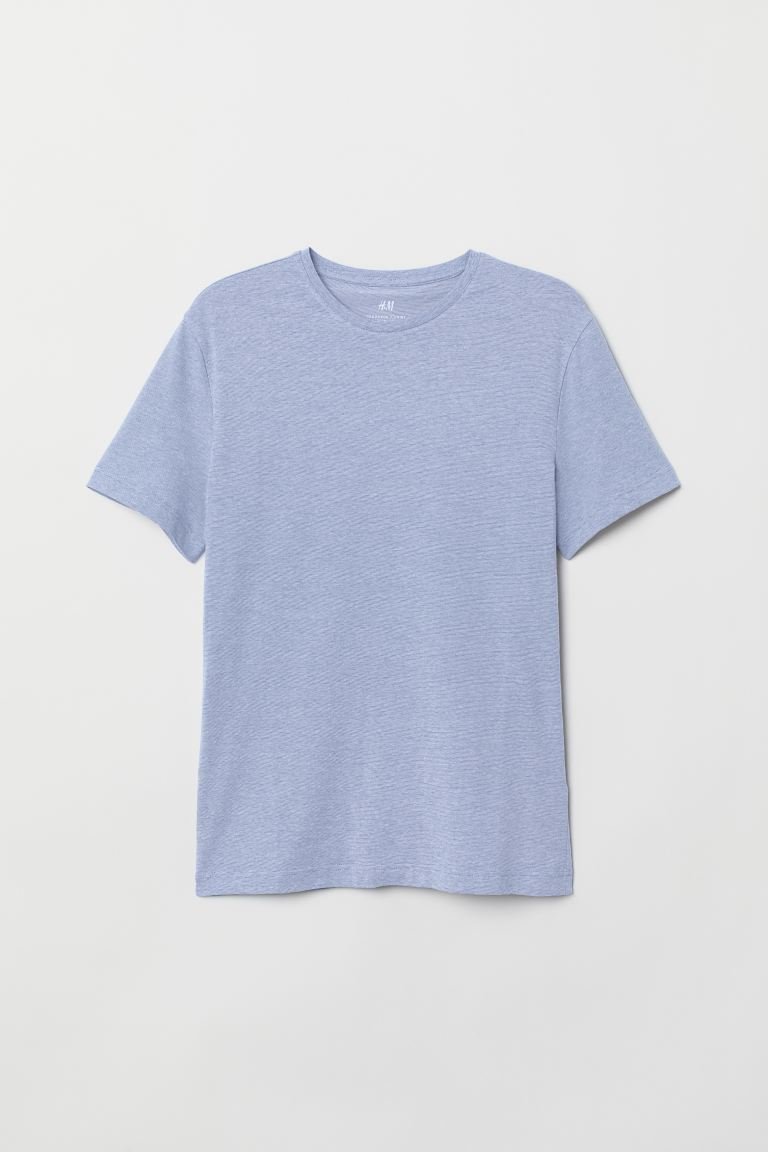 Round-necked T-shirt Slim Fit - Blue/Narrow-striped - Men | H&M GB