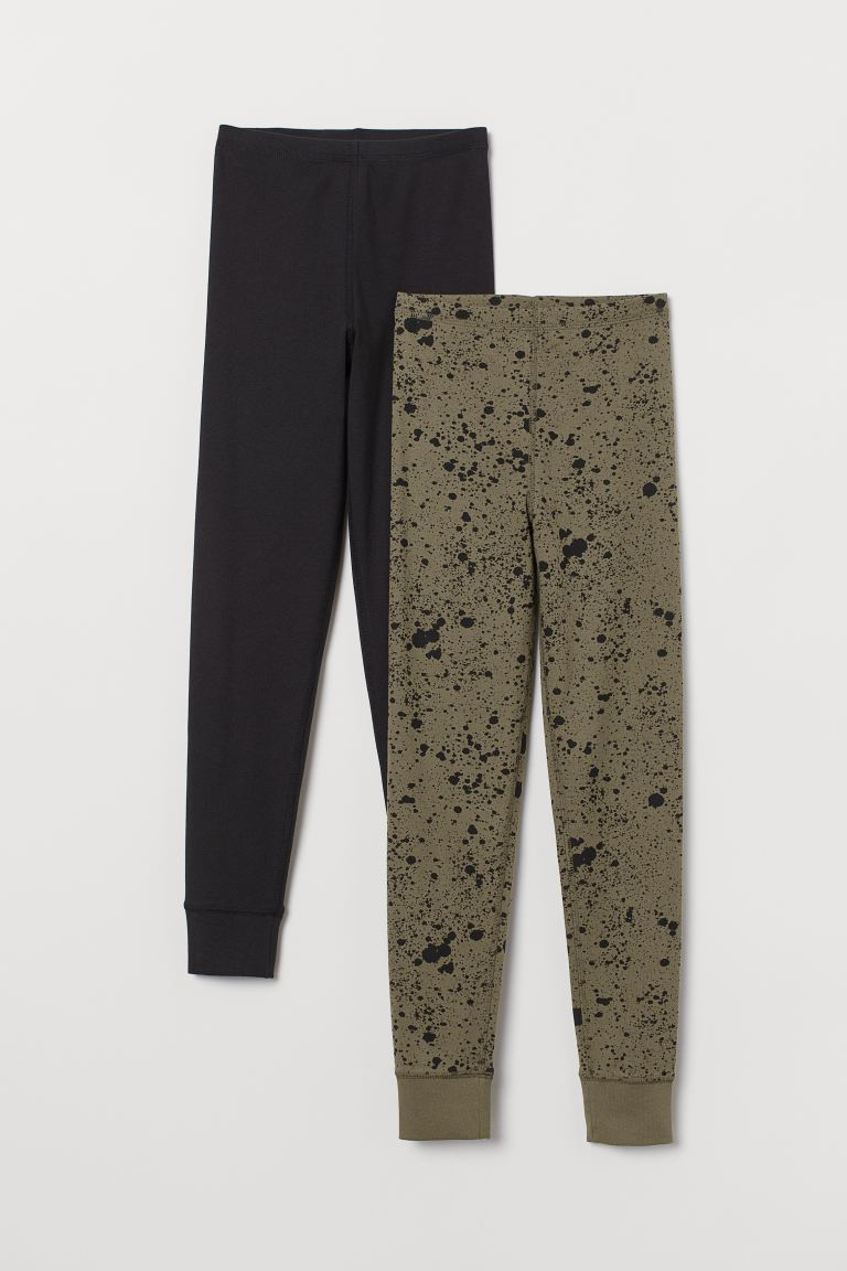 2-pack longjohns - Khaki green/Patterned - Kids | H&M GB