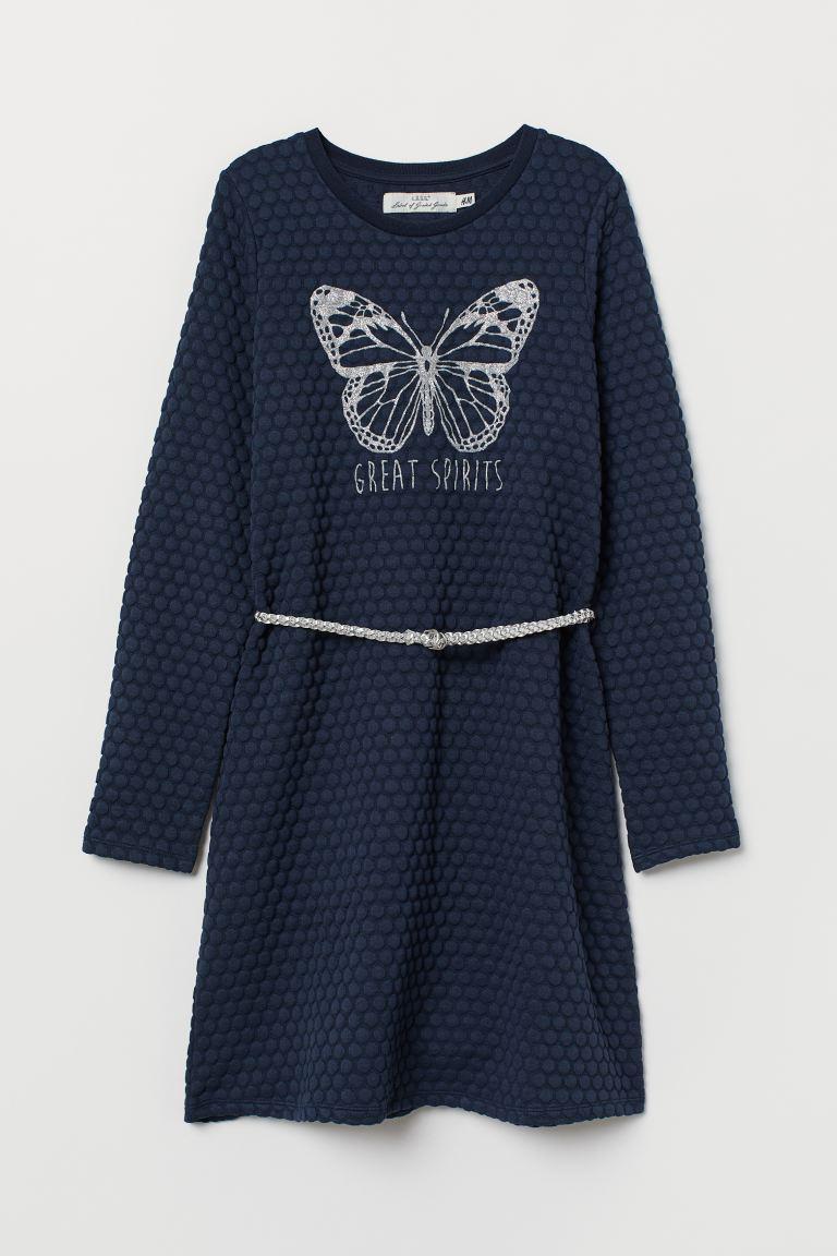 Sweatshirt Dress with Belt
