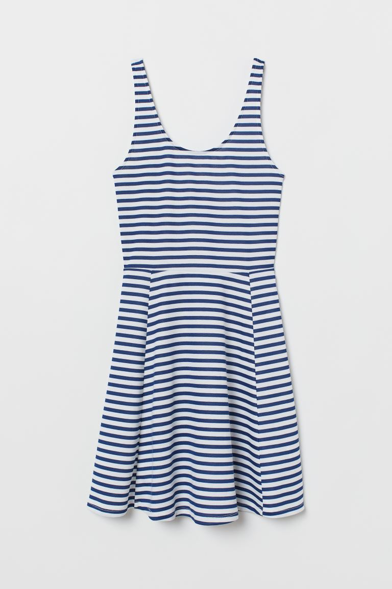 Sleeveless jersey dress - White/Blue striped - Ladies | H&M GB