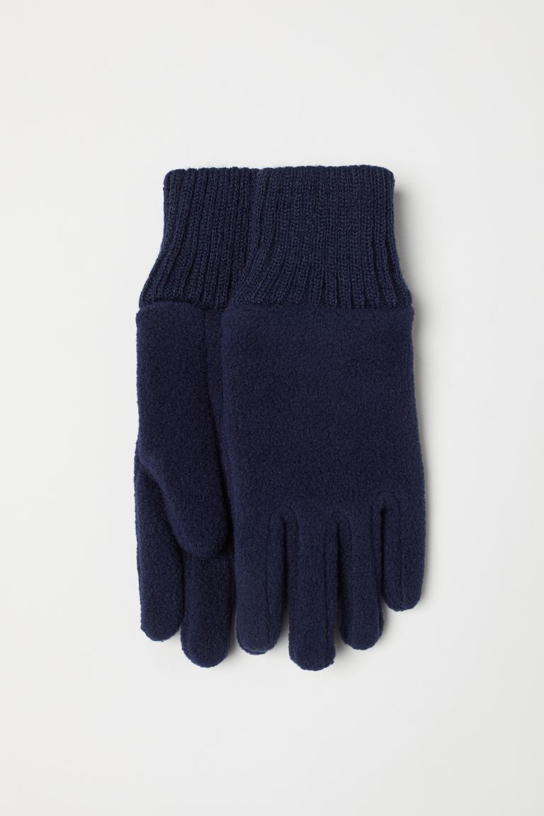 Fleece gloves - Dark blue - Kids | H&M GB