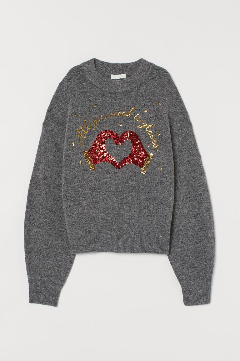 Knit Sweater with Sequin Motif
