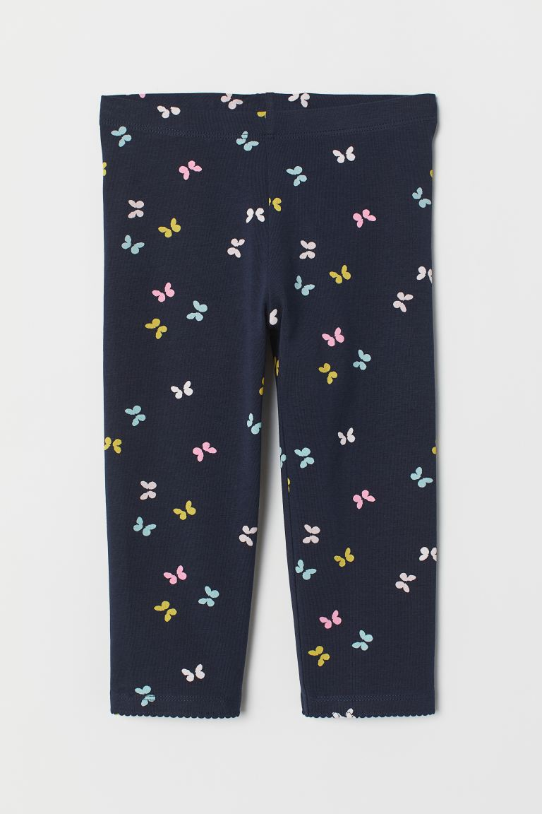 3/4-length leggings - Dark blue/Butterflies - Kids | H&M GB