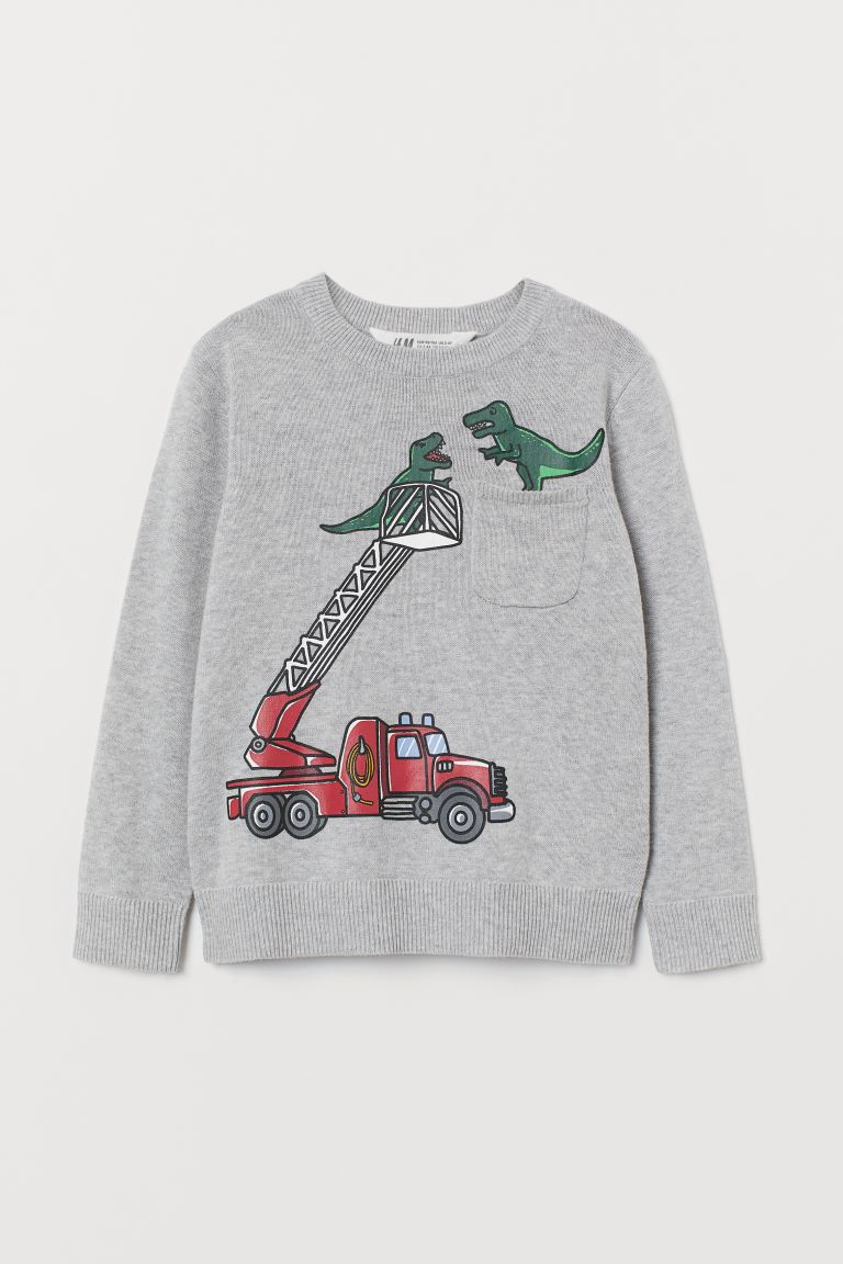 Fine-knit jumper - Grey marl/Fire engine - Kids | H&M GB