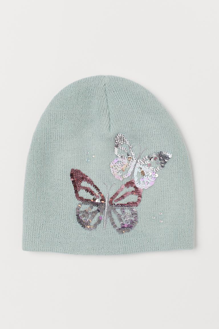 Hat with a motif - Mint green/Butterflies - Kids | H&M GB