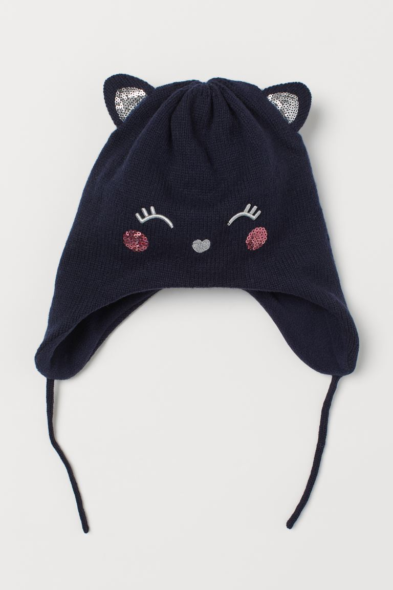 Fleece-lined hat - Dark blue/Cat - Kids | H&M GB