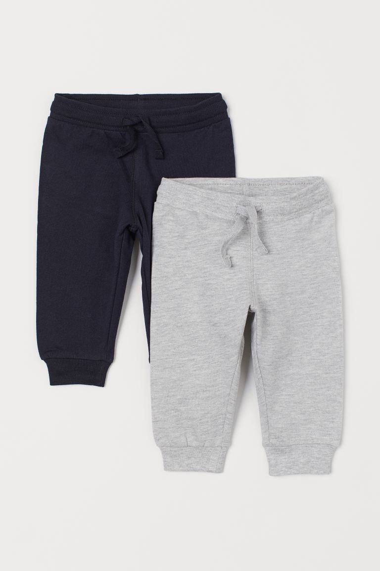 2-pack cotton joggers - Dark blue/Light grey marl - Kids | H&M GB