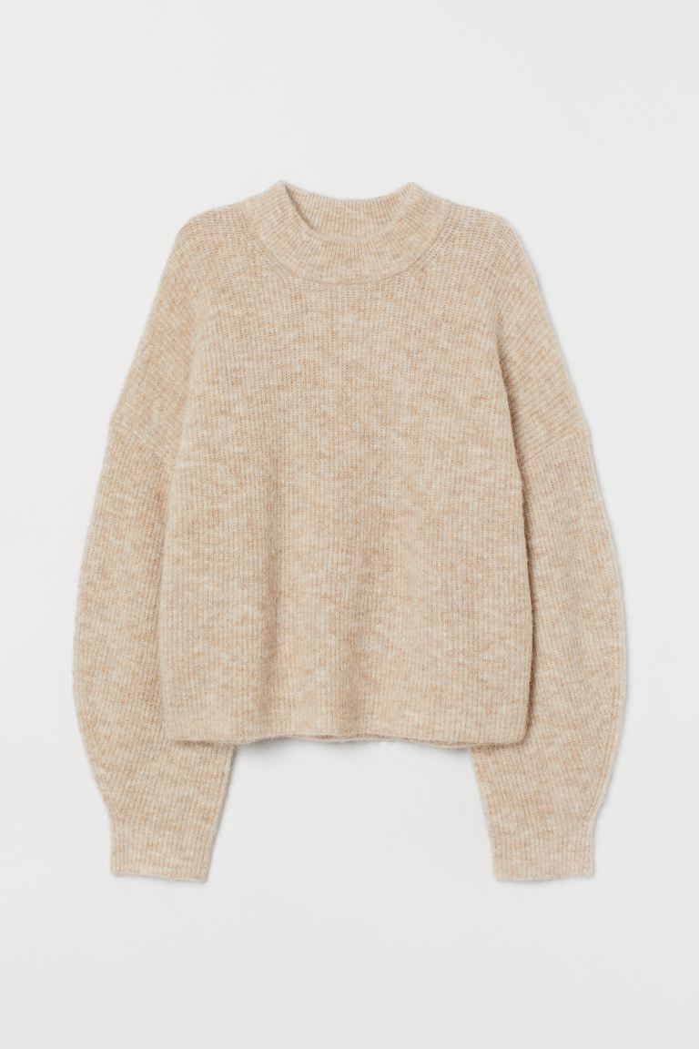 Ribbed wool-blend jumper - Light beige marl - Ladies | H&M GB