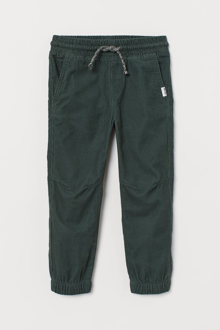 Corduroy joggers - Dark green - Kids | H&M GB