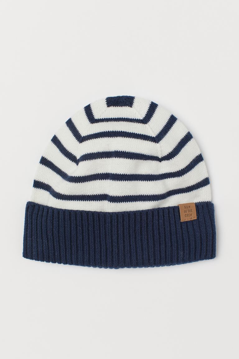 Fine-knit cotton hat - Dark blue/Striped - Kids | H&M GB