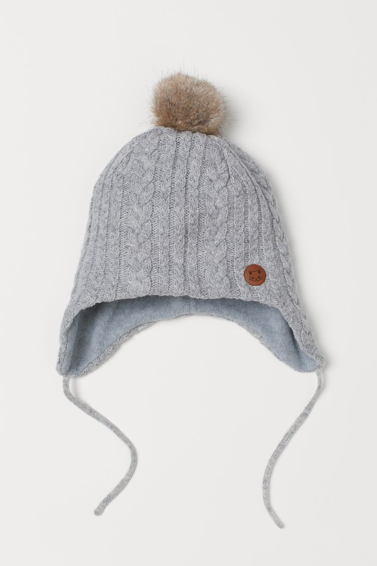 Fleece-lined hat - Grey marl - Kids | H&M GB