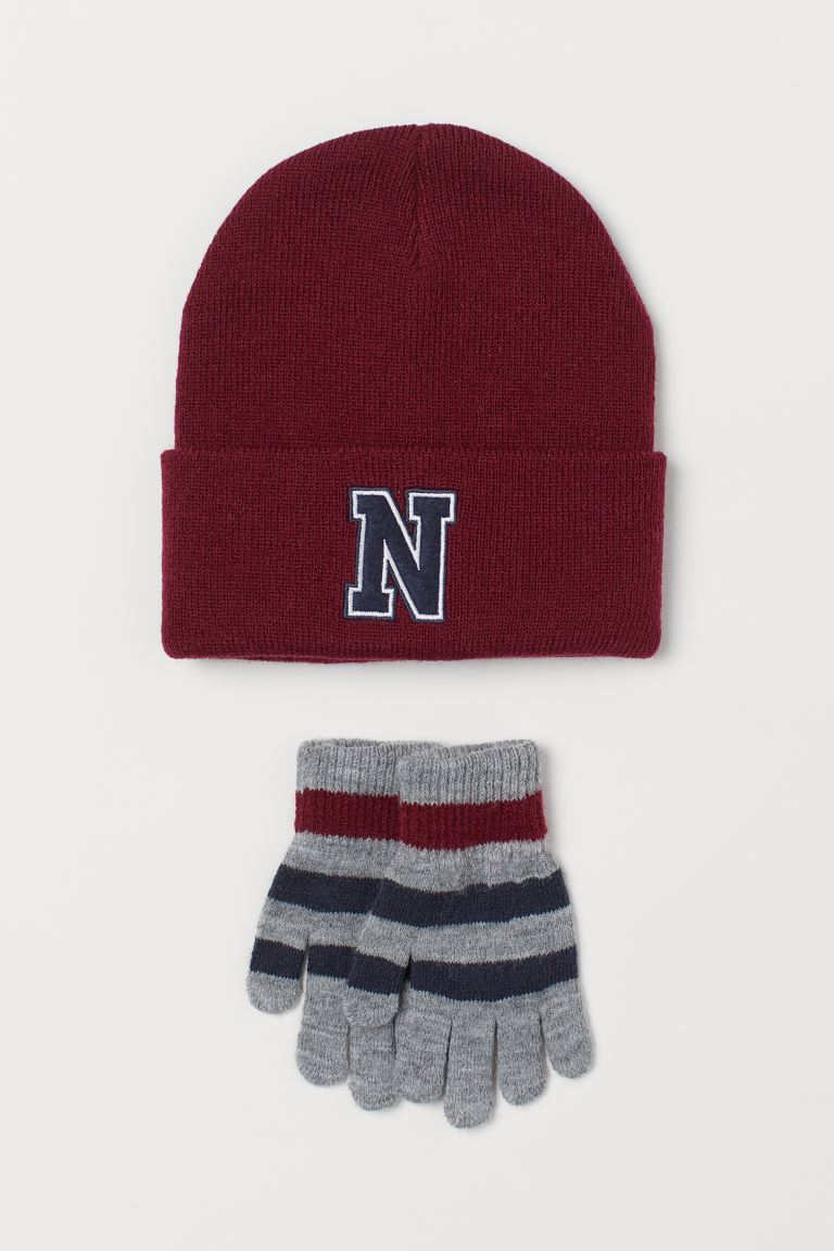 Hat and gloves - Dark red - Kids | H&M GB