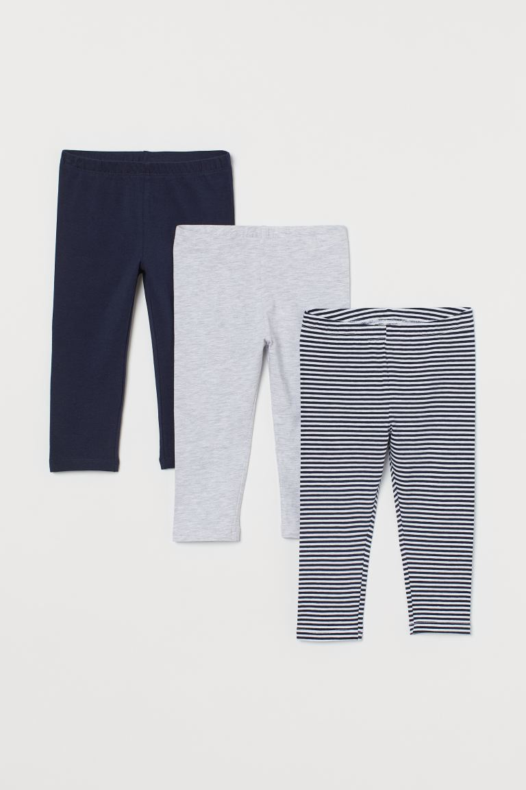 3-pack 3/4-length leggings - Dark blue/Striped - Kids | H&M GB
