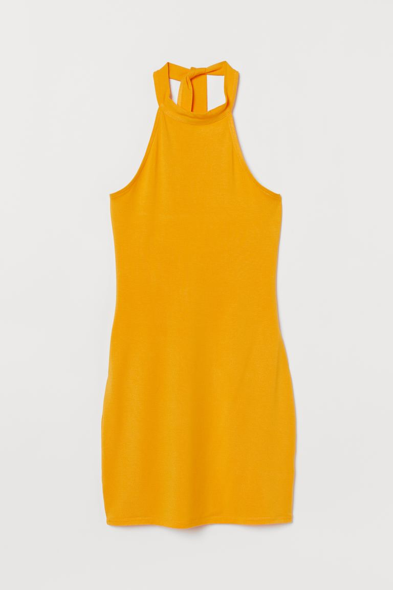 Halterneck dress - Yellow - Ladies | H&M GB