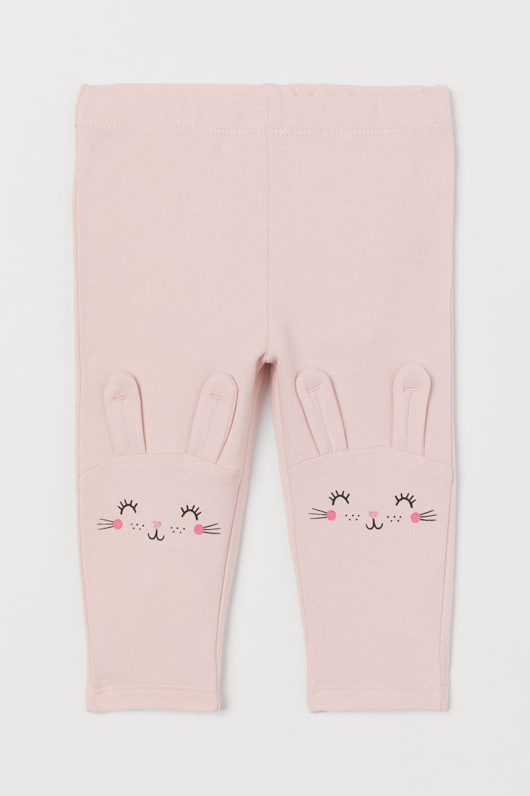Leggings with brushed inside - Light pink/Rabbit - Kids | H&M GB
