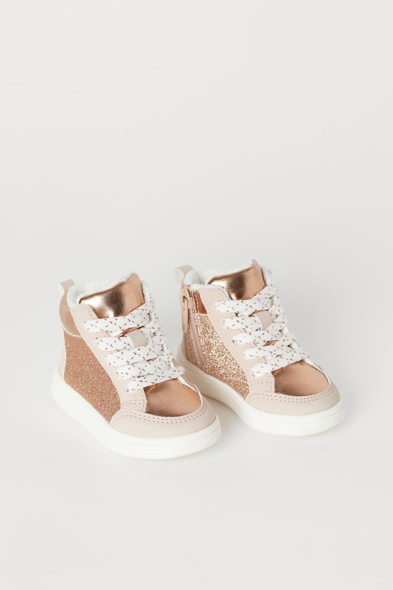 Pile-lined hi-tops - Rose gold-coloured/Glitter - Kids | H&M GB