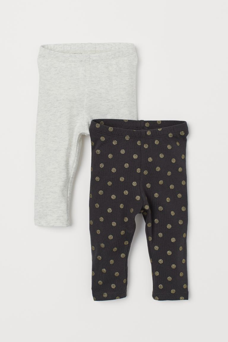 2-pack leggings - Dark grey/Gold-coloured spots - Kids | H&M GB