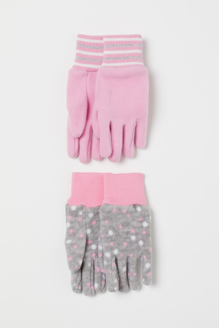 2-pack fleece gloves - Light pink/Spotted - Kids | H&M GB