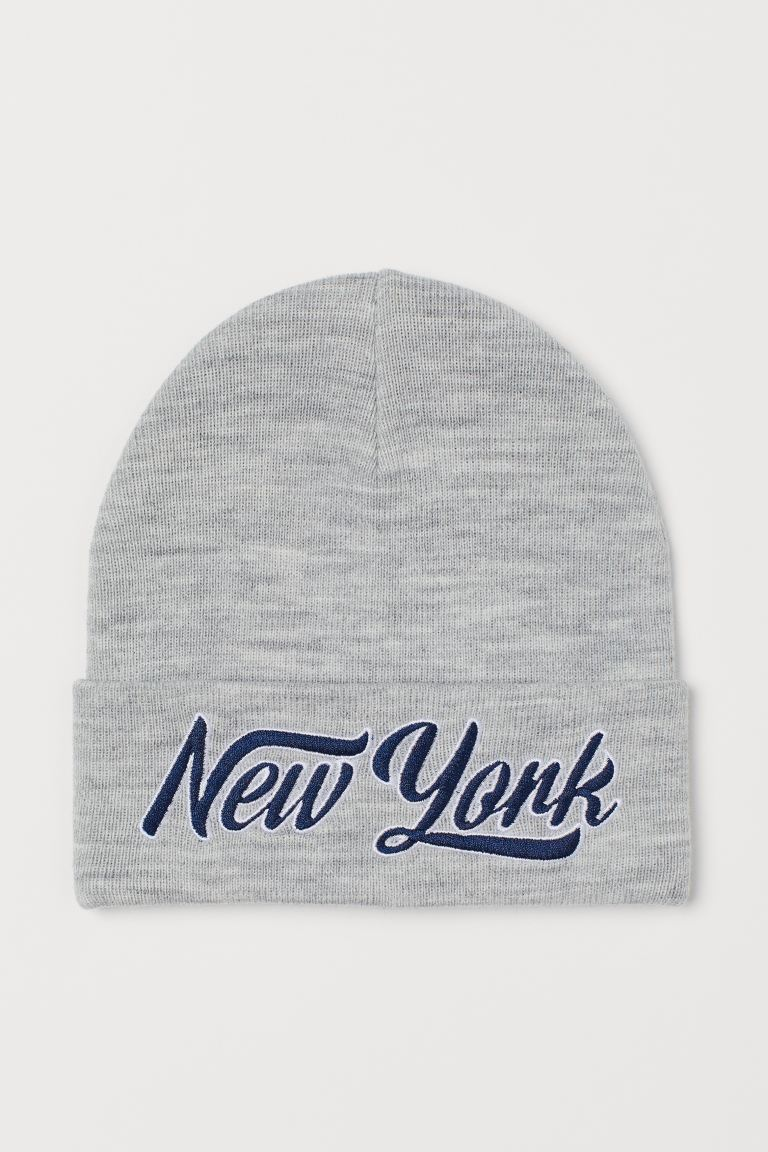 Text-embroidered hat - Light grey marl/New York - Kids | H&M GB