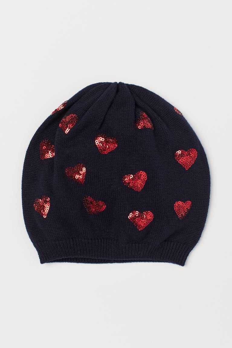 Hat with sequins - Dark blue/Hearts - Kids | H&M GB