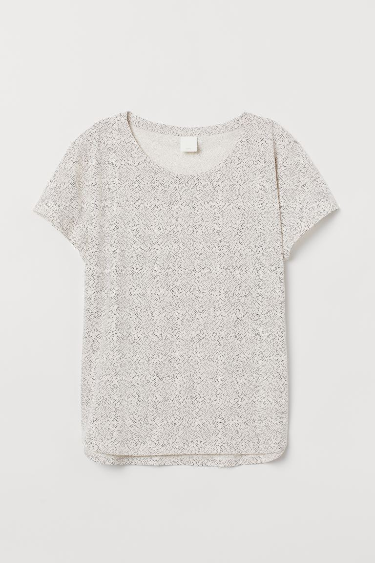 Cotton T-shirt - Natural white/Spotted - Ladies | H&M GB