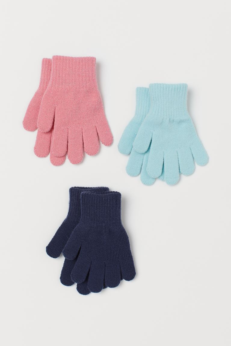 3-pack gloves - Pink/Turquoise/Dark blue - Kids | H&M GB