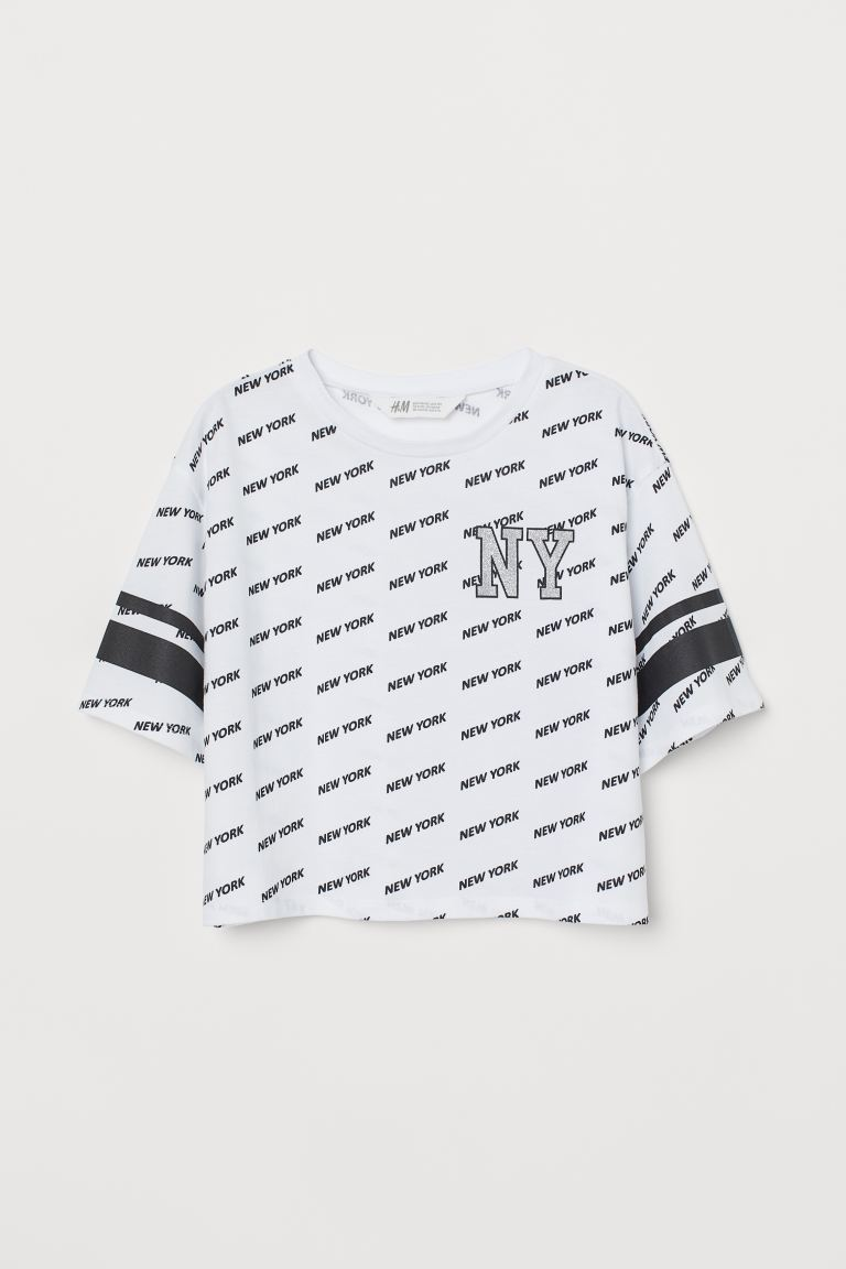 Short T-shirt with a motif - White/New York - Kids | H&M GB