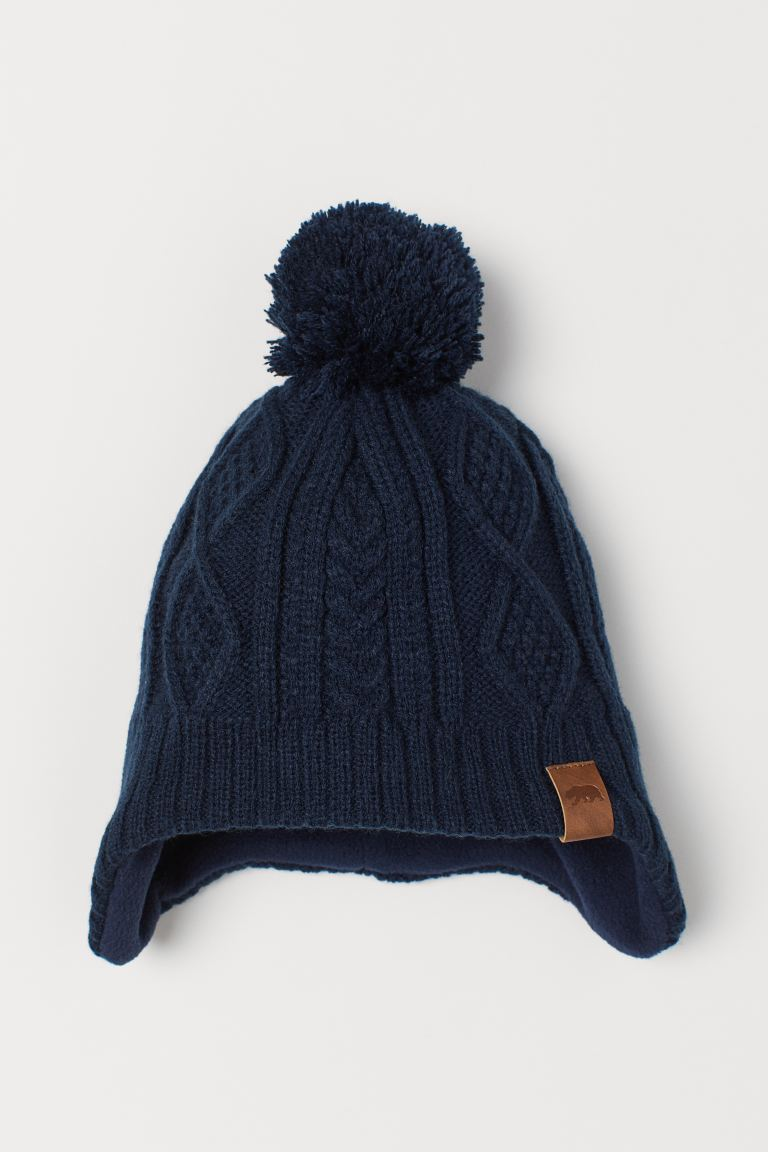 Fleece-lined hat - Dark blue - Kids | H&M GB