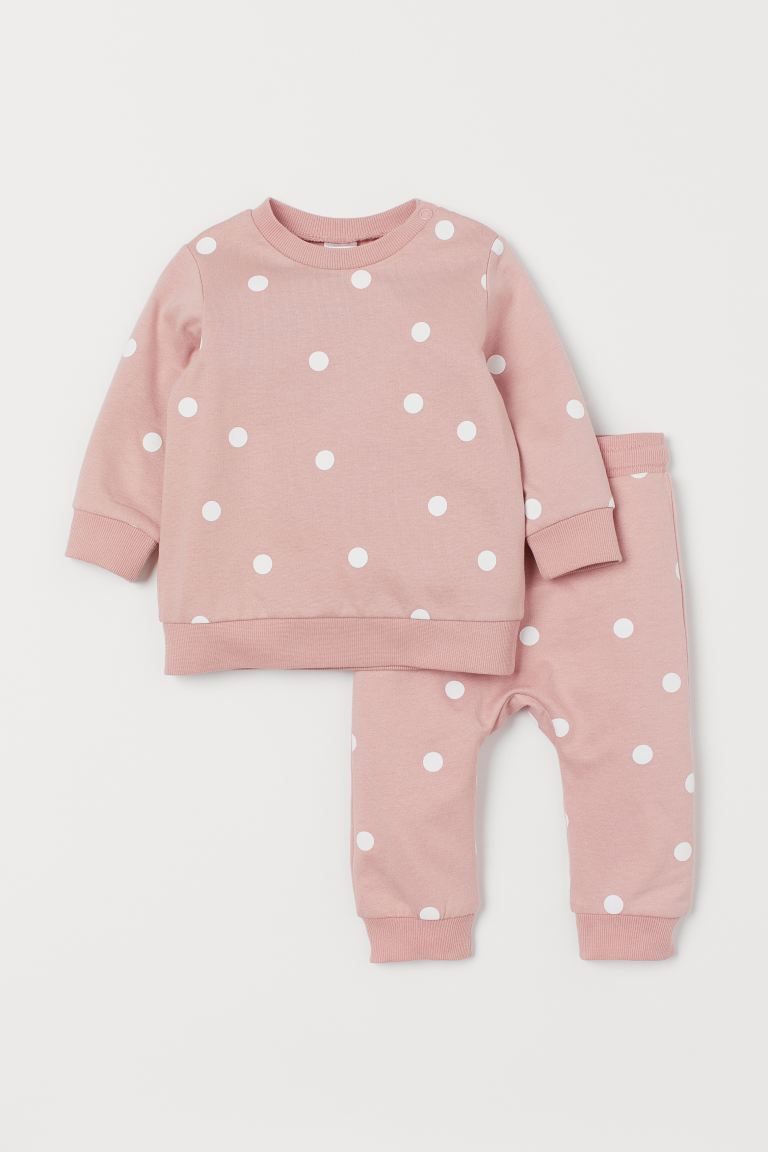 2-piece cotton set - Light pink/Spotted - Kids | H&M GB