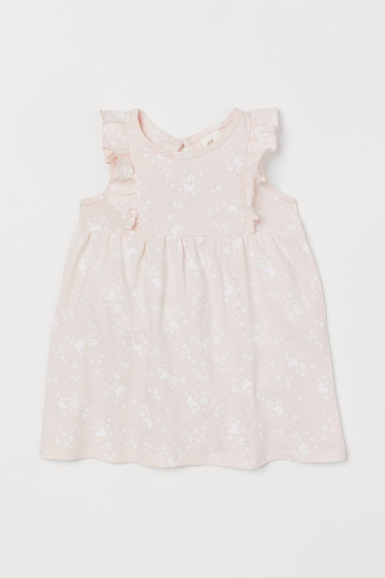 Patterned cotton dress - Light pink/Butterflies - Kids | H&M GB