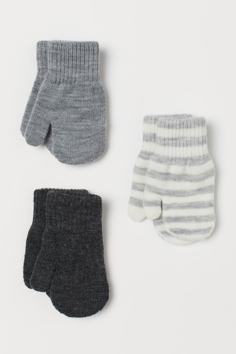 3-pack mittens - Light grey marl/Striped - Kids | H&M GB