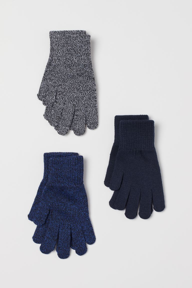 3-pack gloves - Blue marl - Kids | H&M GB