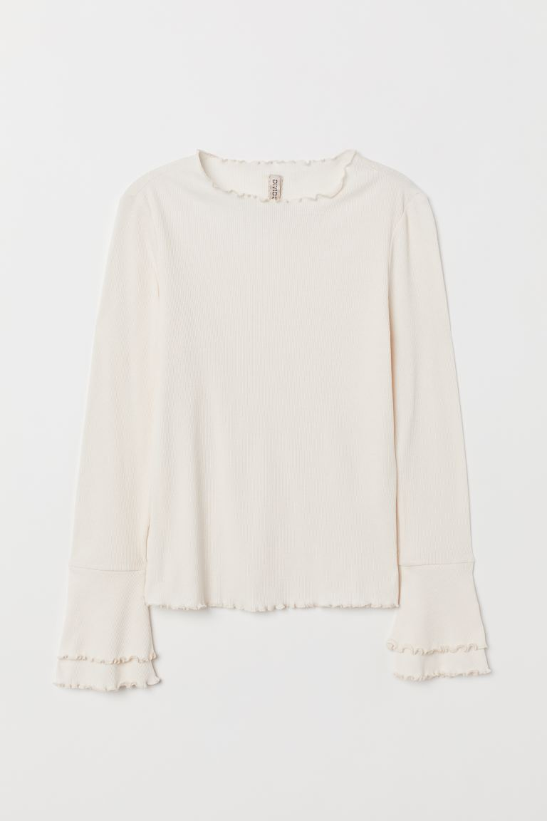 Ribbed jersey top - Cream - Ladies | H&M GB