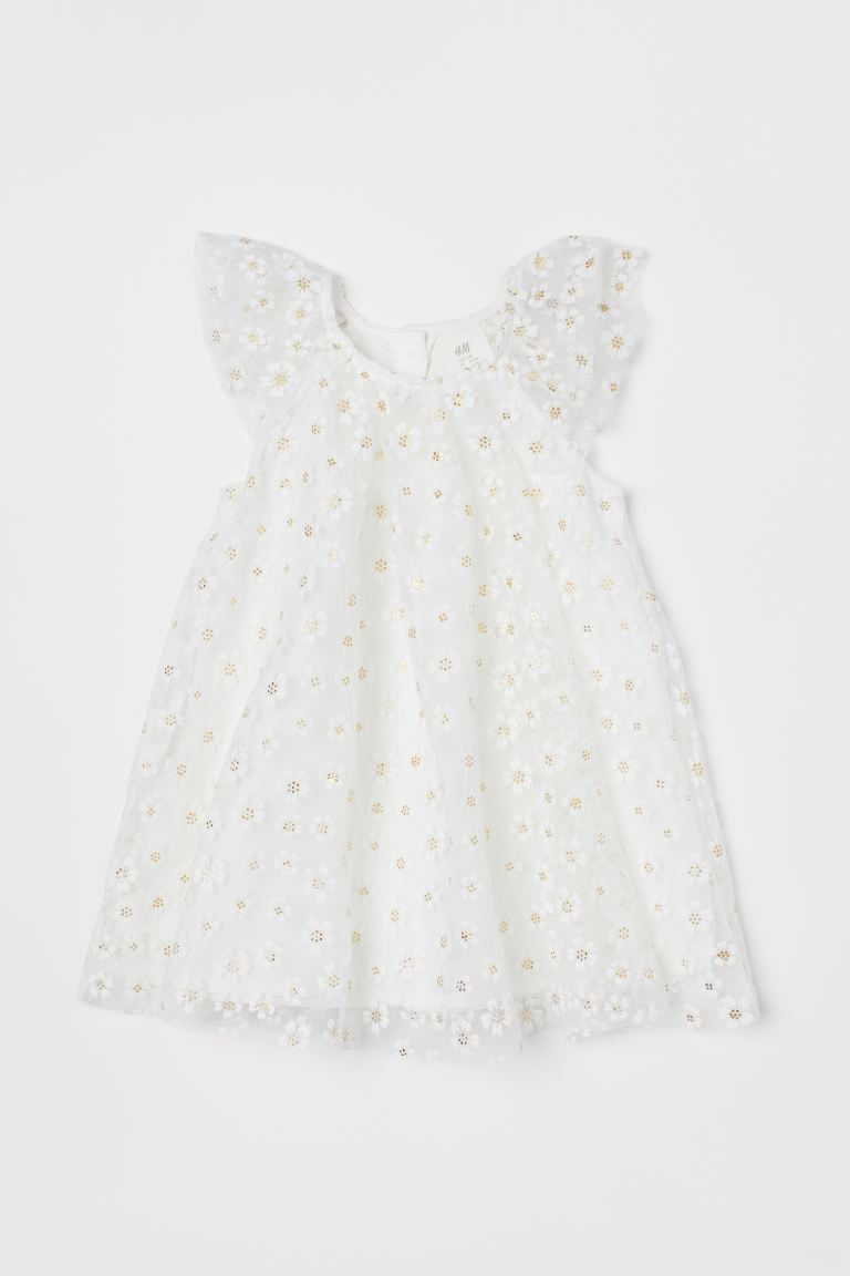 A-line dress - White/Floral - Kids | H&M GB