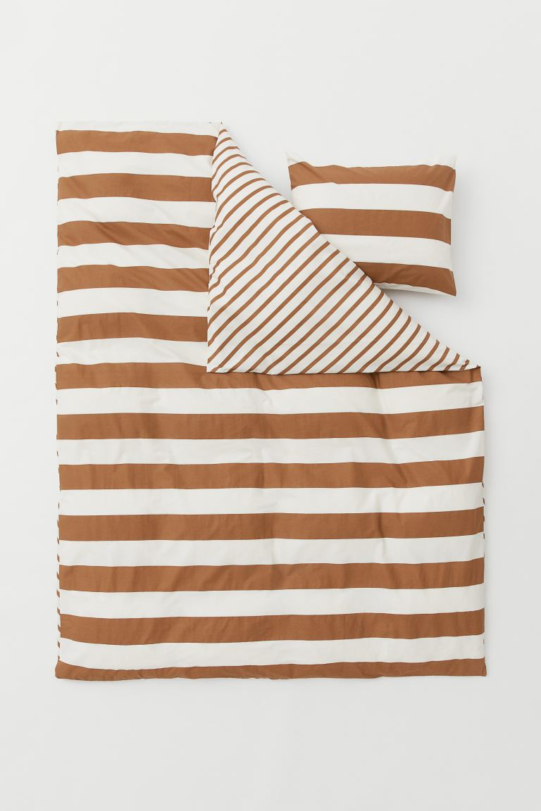 Striped duvet cover set - Light brown/Natural white - Home All | H&M GB
