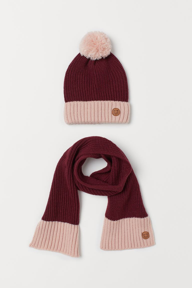 Rib-knit hat and scarf - Dark red/Powder pink -  | H&M GB