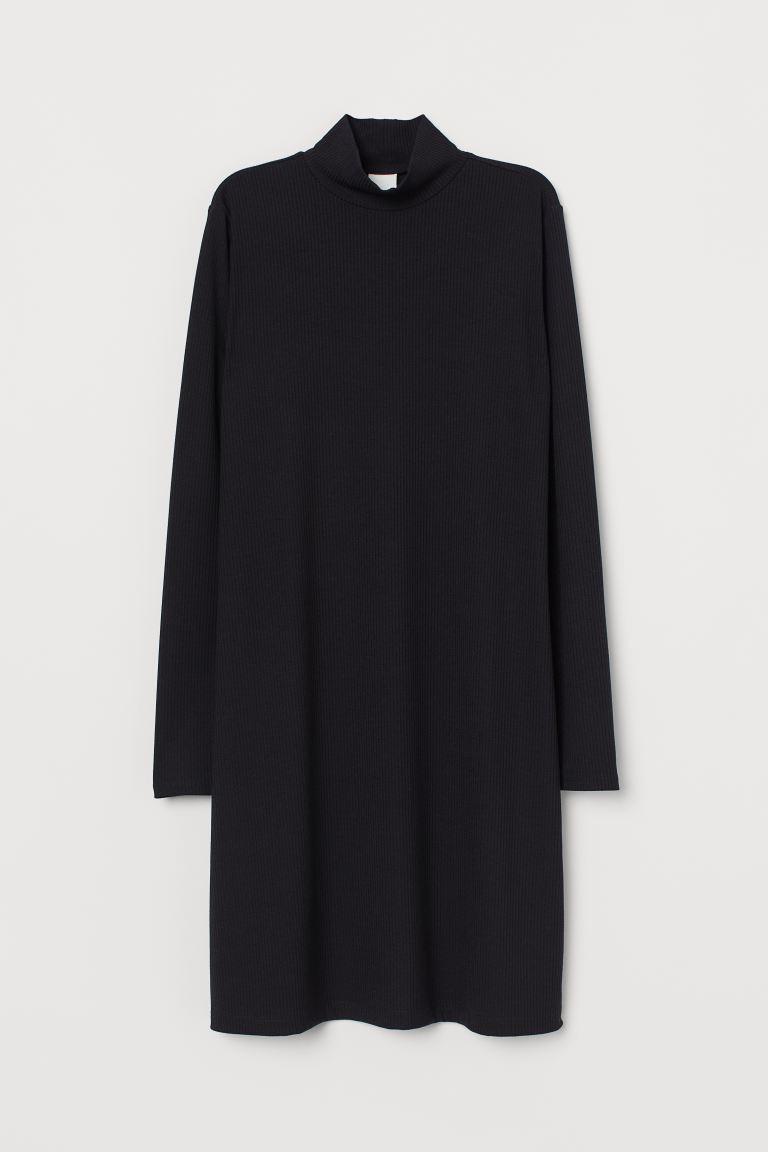 Ribbed Mock-turtleneck Dress