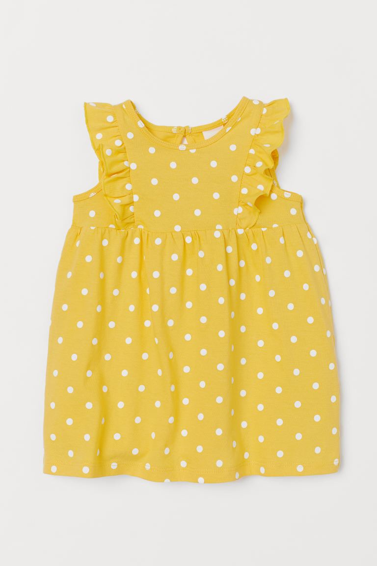 Flounce-trimmed cotton dress - Yellow/Spotted - Kids | H&M GB