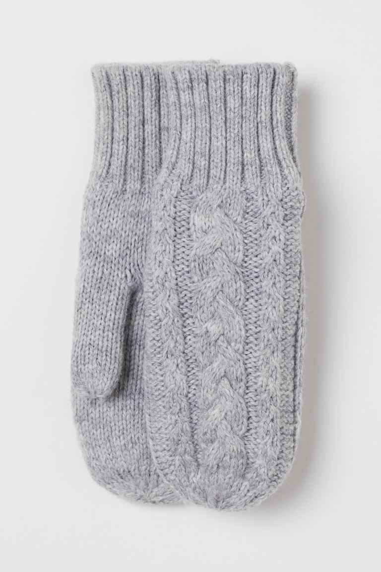 Cable-knit mittens - Grey marl - Kids | H&M GB