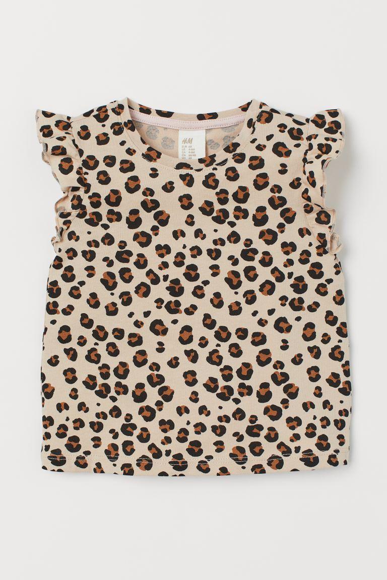 Flutter-sleeved Jersey Top